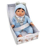 Baby Brunette Doll In Bear Pom Pom Outfit