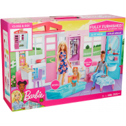 Dollhouse, Portable 1-Story Playset with Pool and Accessories